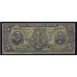 1905 Molsons Bank $5
