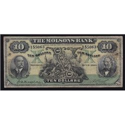 1905 Molsons Bank $10