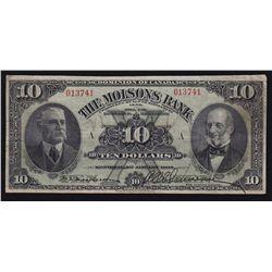 1908 Molsons Bank $10