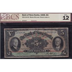 1929 Bank of Nova Scotia $5
