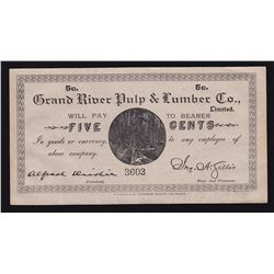 Grand River, Newfoundland Pulp & Lumber Company 5 Cent