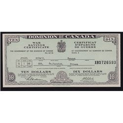1945 Dominion of Canada War Savings $10 Certificate.