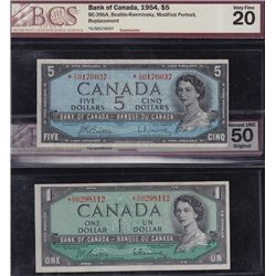 Lot of Two 1954 Bank of Canada Replacement Notes