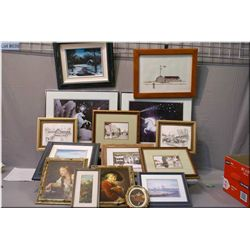 A large selection of framed prints, various contents, various sizes