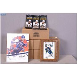 Five brand new boxes of Upper Deck Hockey cards and two signed Oilers hockey pictures including Ales