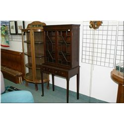 """An antique mahogany small two door display cabinet with two doors on tall cabriole supports 60"""" high"""