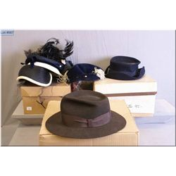 """A selection of vintage hats including a stamped """"Indiana Jones"""" Stetson plus vintage ladies hats and"""