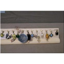 A selection of brand new sterling and gemstone pendants, 12 pieces