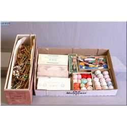 A selection of vintage lace maker's wooden bobbins and boxed embroidery thread including DMC etc.