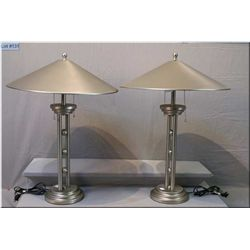 A pair of brush pewter modern style table lamps