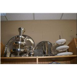 A large selection of silverplate including large charger, multitier dish etc.