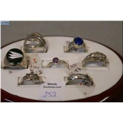 A selection of brand new sterling silver rings, some set with gemstones