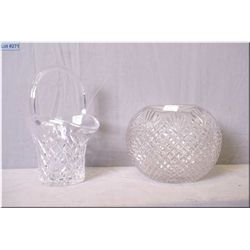 Two pieces of crystal including rose bowl and a handled basket