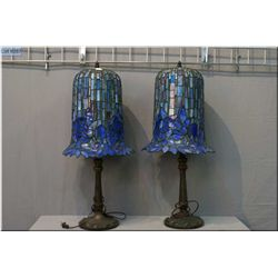 """A pair of cast base leaded fixture table lamps, note one shade in need of repair 20"""" high"""