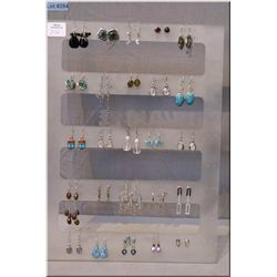 A selection of brand new sterling silver and gemstone earrings, 25 pieces