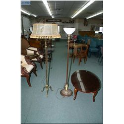 Two vintage floor lamps and a sacrificial coffee table