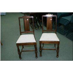 A pair of walnut T-back side chairs