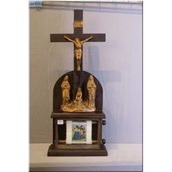An antique Church crucifix display with coloured stations of the cross scroll circa 1904
