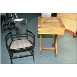 A child's vintage Canadiana flip top desk and an open armed low side chair