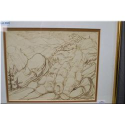 "An original sketch ""Mountain/Man"", artist signature under matting and a limited edition print ""Poem"""