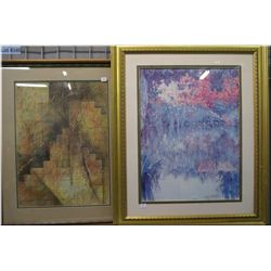 Two framed abstract prints
