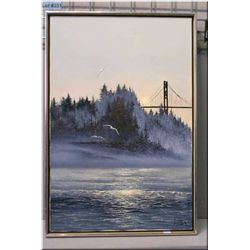 A framed oil on canvas painting of a bridge scene (British Columbia) by artist Ulysses N. La Rosa 30