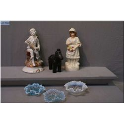 A selection of vintage collectibles including Staffordshire figurine, Capodimonte figurine and vinta