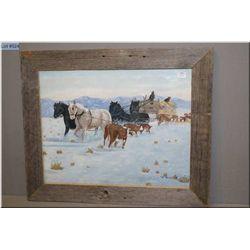 "A original barn board framed artwork of horses pulling a hay wagon signed by artist 15"" X 19"""