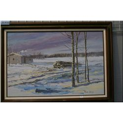"""Framed acrylic on canvas painting """"Late Night at Sweetgrass Reserve"""" 1973 signed by artist Allen Sap"""