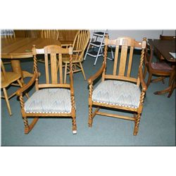 An antique quarter cut oak slat back chair and rocker with barley twist accents and upholstered seat