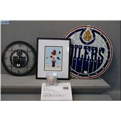 A selection of sports related collectibles including Oilers light and wall mount clock,  framed Pete