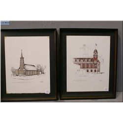 """Two framed Weber prints including """"The Old Post office, Edmonton"""" 1979 and """"The Old St. Mark's Churc"""