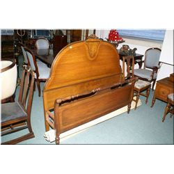 An antique four drawer dresser with inlaid center drawer and four drawer mirror and matching inlaid