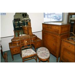 A antique seven drawer inlaid highboy and mirrored vanity, stool and chair to match lot 645