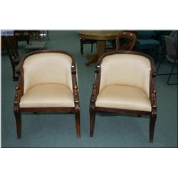 Two tub style parlour chairs with carved swan motif and upholstered seat, back and rear