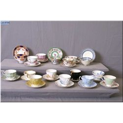 A large selection of collectible cups and saucers including Hammersley, Colclough, Aynsley, Queen An