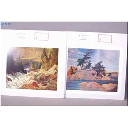 """Two group of seven prints including """"River Rapids"""" by JEH MacDonald and """"Island Georgian Bay"""" by Fra"""