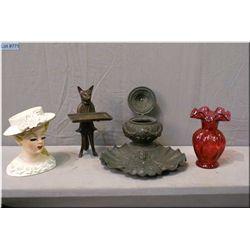 A selection of vintage collectibles including Rueben's head vase, cranberry glass bud vase, vintage