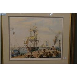 "A framed Roy Cross print ""New Bedford Whaler Warping Inn"" signed in pencil by artist"