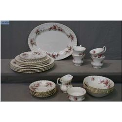 Royal Albert Lavender Rose dinnerware including place settings for four of dinnerplates, side plates