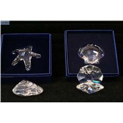 Four Swarovski crystal ornament including Oyster, starfish, scallop and sea shell