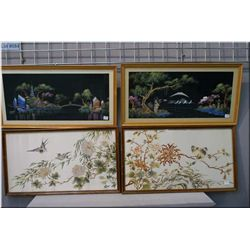 Four Asian motif framed pictures including two silks with bird motif and two Japanese motif pictures