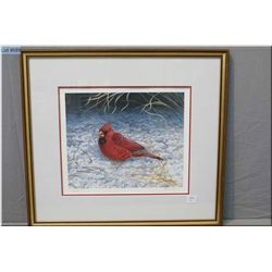 """Framed limited edition print """"Red Cardinal"""" 289/300 signed in pencil by artist R. Fehr"""