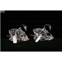 Two Swarovski crystal Swans