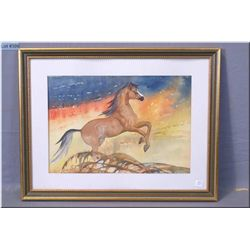 "A framed watercolour on paper ""Running Free"" by renowned Canadian artist Euphemia Mc Naught 16"" X 20"