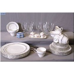 Setting for six of Aynsley bone china including dinner plates, side plates, bread and butter, cups,