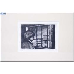 "A framed limited edition engraving of a young man looking through a window 53/60 by P. Renoir 8"" X 1"