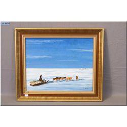 An orginal acrylic on canvas painting of a sled team returning to camp by Inuit artist John Allukpik