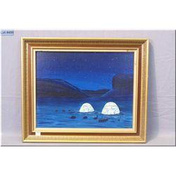 "An original acrylic on board painting of a winter camp by Inuit artist John Allukpik, NWT 16"" X 20"""