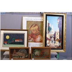 A selection of framed artwork including two original oil on canvas vegetable motif paintings signed